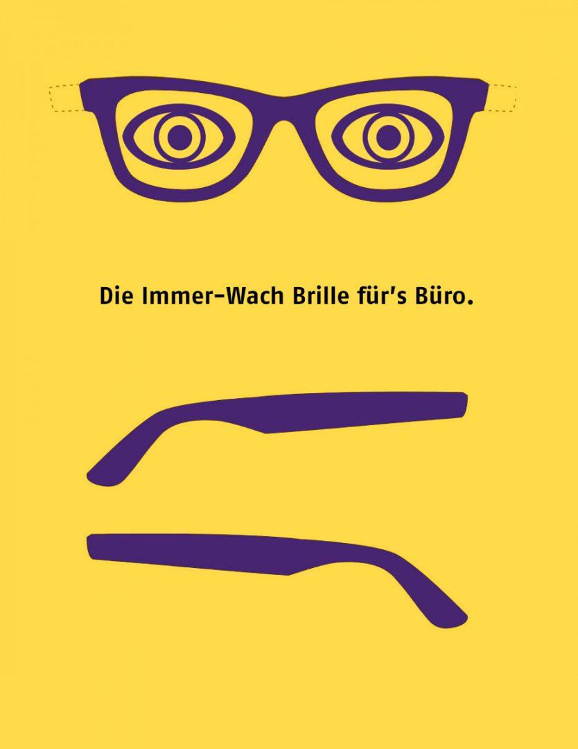 Die Immer-Wach Brille zum Ausdrucken, Ausschneiden und Aufsetzen. So bleibst du auf Arbeit immer wach!