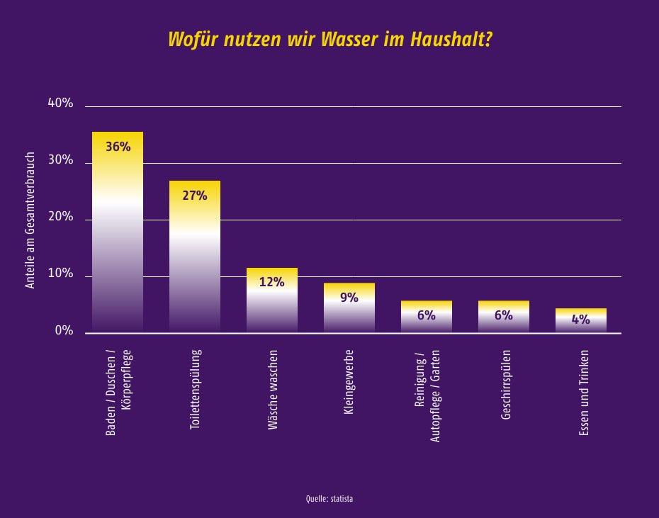 Verbrauch im Haushalt: Wo geht das Wasser hin? - Quelle: statista
