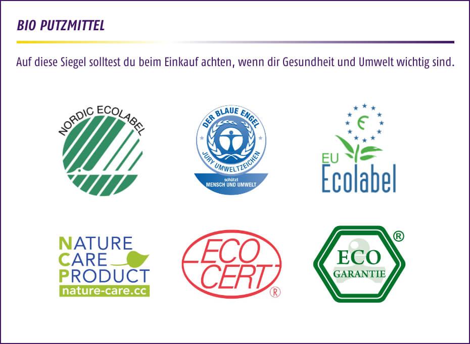 Bio Putzmittel - Auf diese Siegel solltest du beim Einkauf achten, wenn dir Gesundheit und Umwelt wichtig sind.